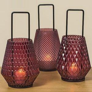 windlight Struktur 3ass H42cm 70%glass, 30%iron. mixed materials marsala