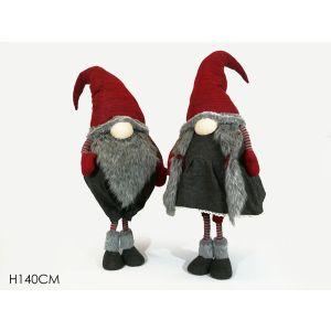 xmas soft toy santa grey-red h140cm