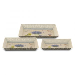 "SERVING TRAY 3pcs. SET RECTANG. 41.5x-38-34.5cm. ""LAVENDER"""