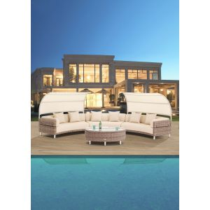 Pienza Sofa with Marine Plus Leather and Canopy (10pc/set)