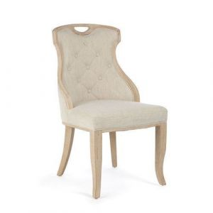 Wooden chair with ecru fabric 50x55x95cm