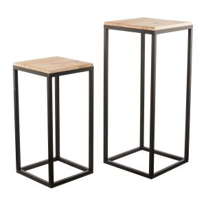 Metal table/Podest with wooden plate Set of 2 35x82/30x62cm, black