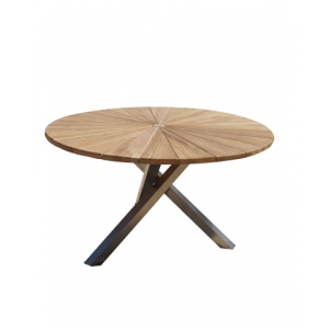 Bella TeakW. Round Table D130x75cm; natural fine sanded wh crossed stainless still legs